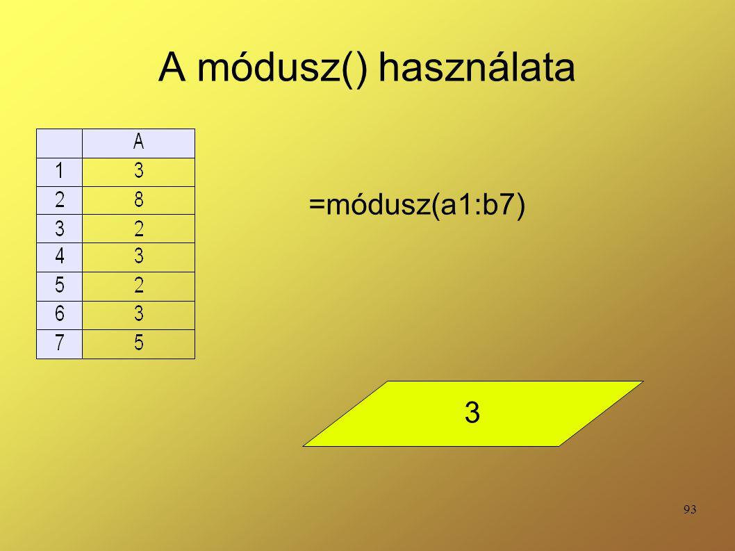 A módusz() használata =módusz(a1:b7) 3