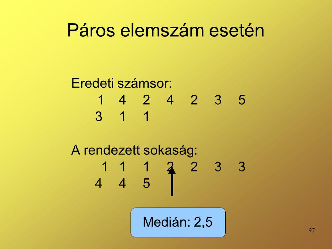 Páros elemszám esetén Eredeti számsor: 1 4 2 4 2 3 5 3 1 1