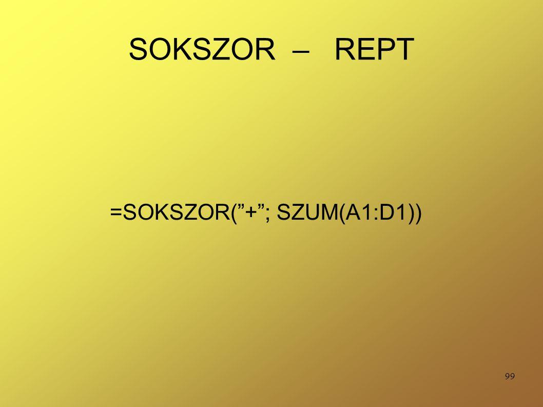 =SOKSZOR( + ; SZUM(A1:D1))