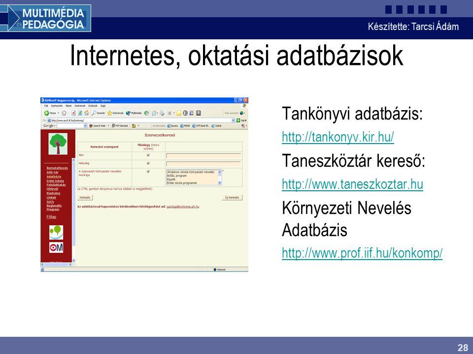 Internetes, oktatási adatbázisok