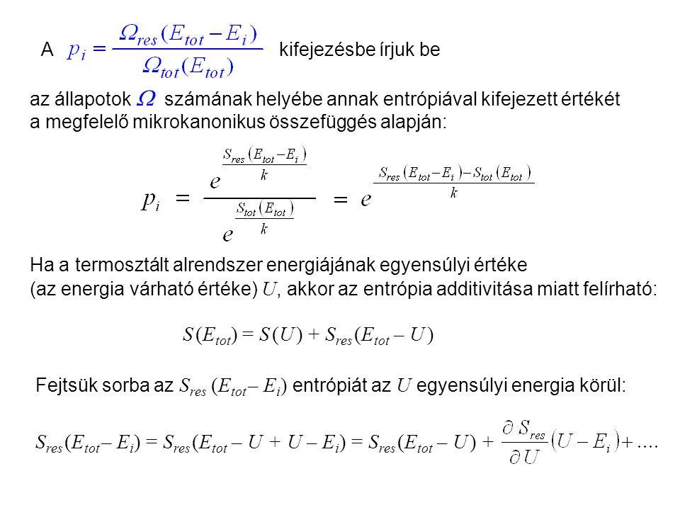 S (Etot) = S (U ) + Sres (Etot – U )