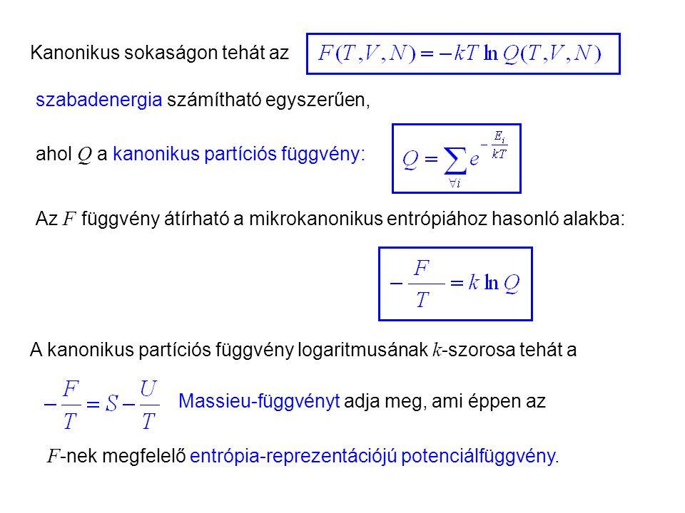 F-nek megfelelő entrópia-reprezentációjú potenciálfüggvény.
