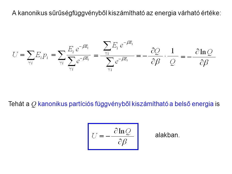 Kanonikus energia A kanonikus sűrűségfüggvényből kiszámítható az energia várható értéke: