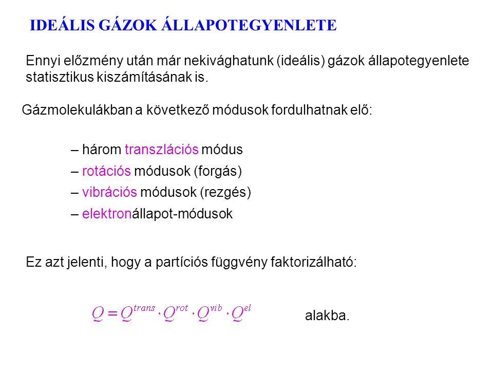 IDEÁLIS GÁZOK ÁLLAPOTEGYENLETE