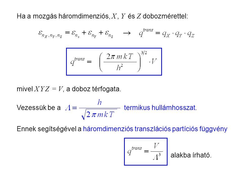 Ideális gázok 5 Ha a mozgás háromdimenziós, X , Y és Z dobozmérettel: mivel X Y Z = V, a doboz térfogata.