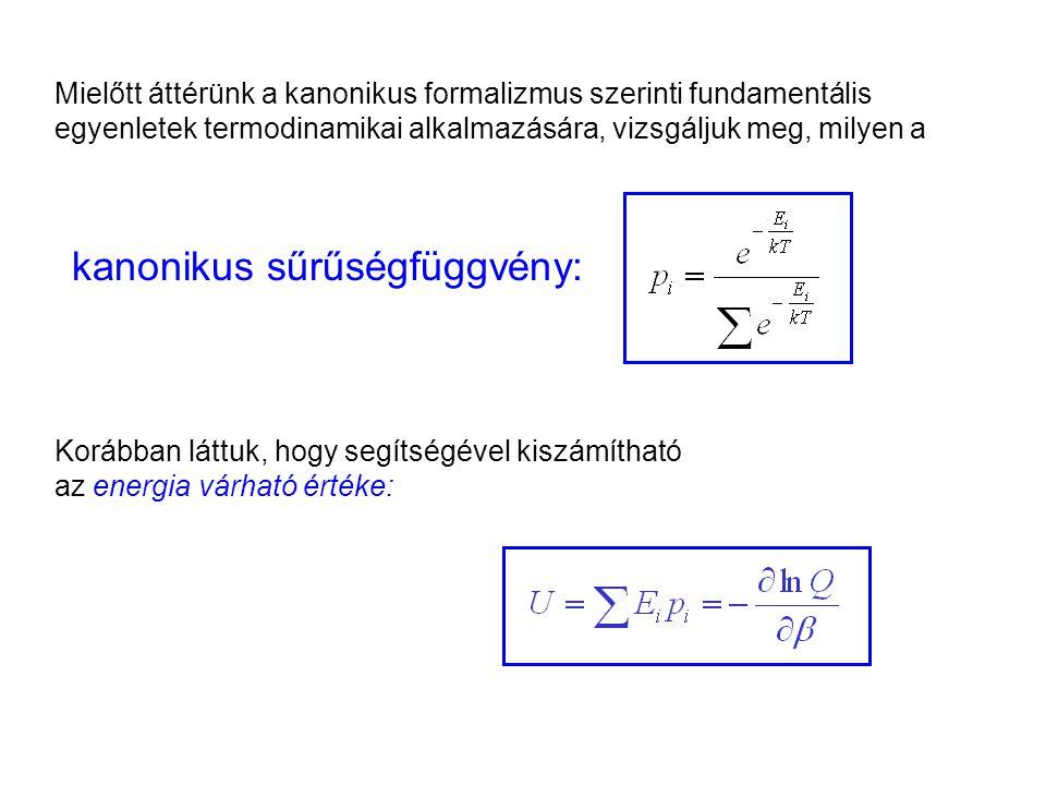 A kanonikus sűrűségfüggvény tulajdonságai