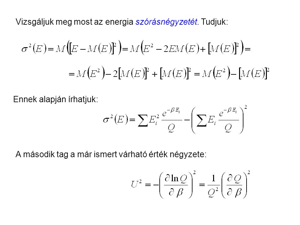 Kanonikus energia szórásnégyzete 1