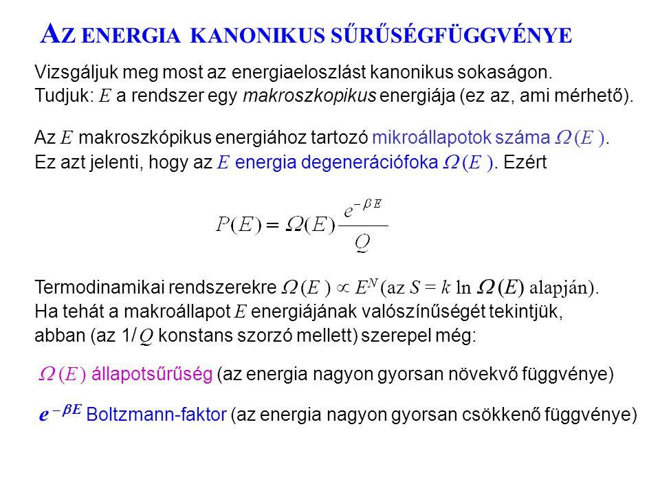 AZ ENERGIA KANONIKUS SŰRŰSÉGFÜGGVÉNYE