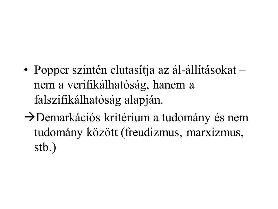 Popper szintén elutasítja az ál-állításokat – nem a verifikálhatóság, hanem a falszifikálhatóság alapján.