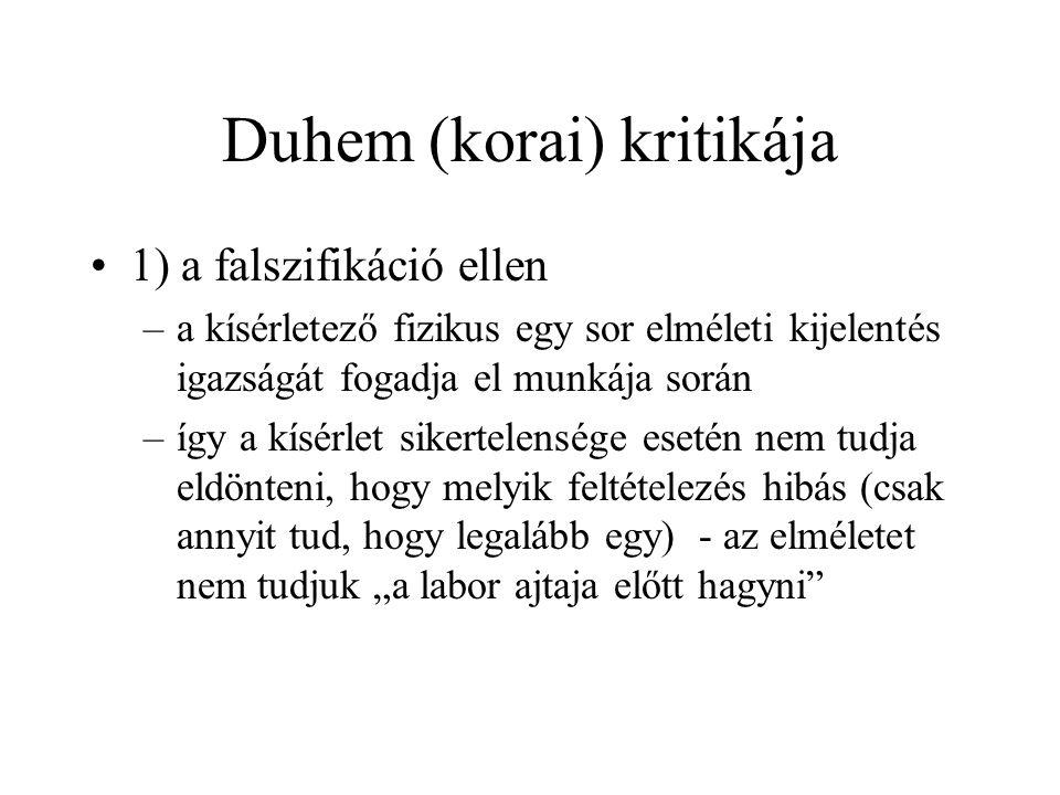 Duhem (korai) kritikája