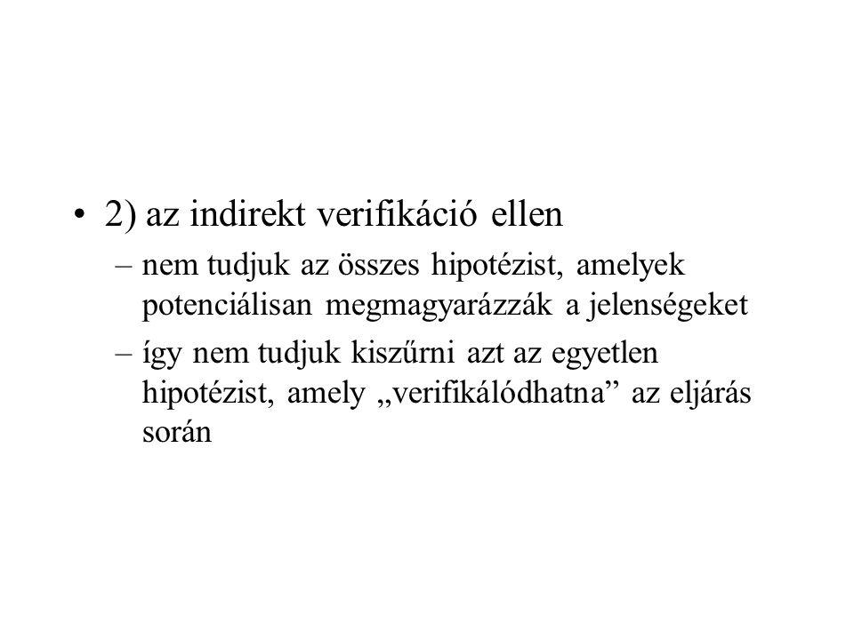 2) az indirekt verifikáció ellen