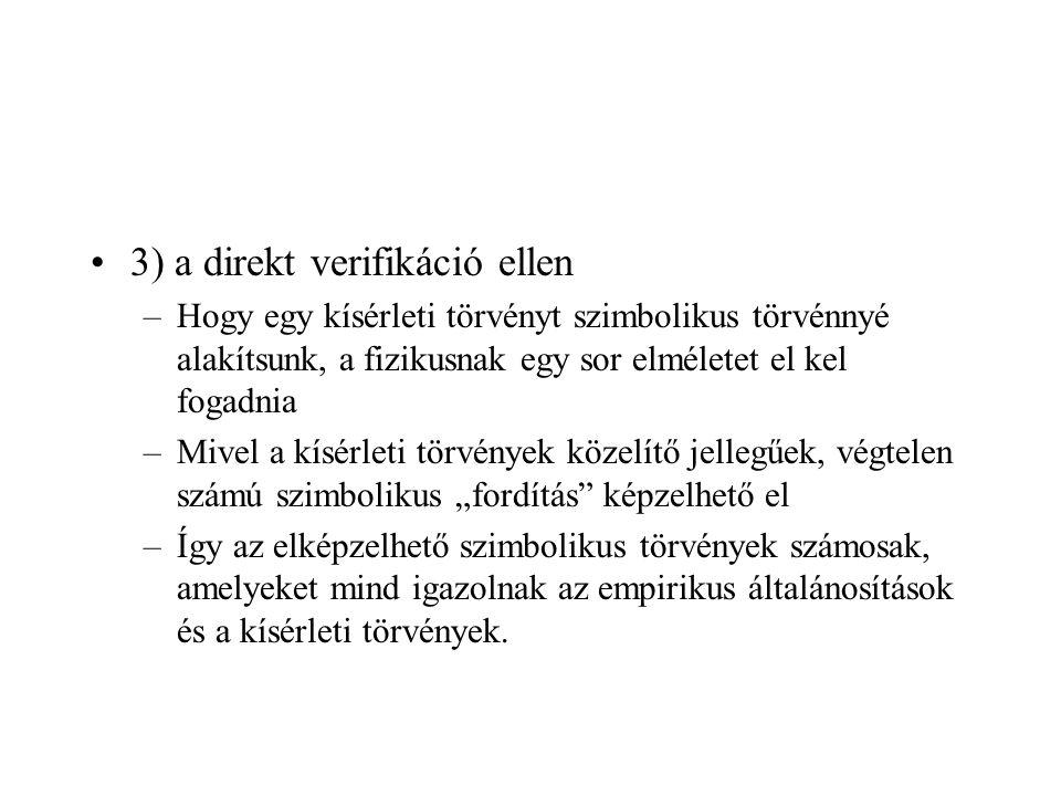 3) a direkt verifikáció ellen