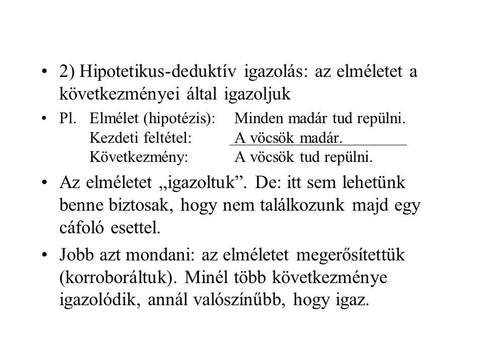 2) Hipotetikus-deduktív igazolás: az elméletet a következményei által igazoljuk