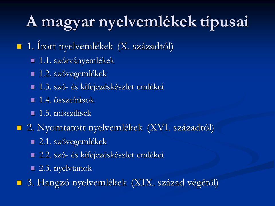 A magyar nyelvemlékek típusai
