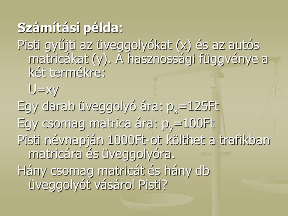Számítási példa: Pisti gyűjti az üveggolyókat (x) és az autós matricákat (y). A hasznossági függvénye a két termékre: