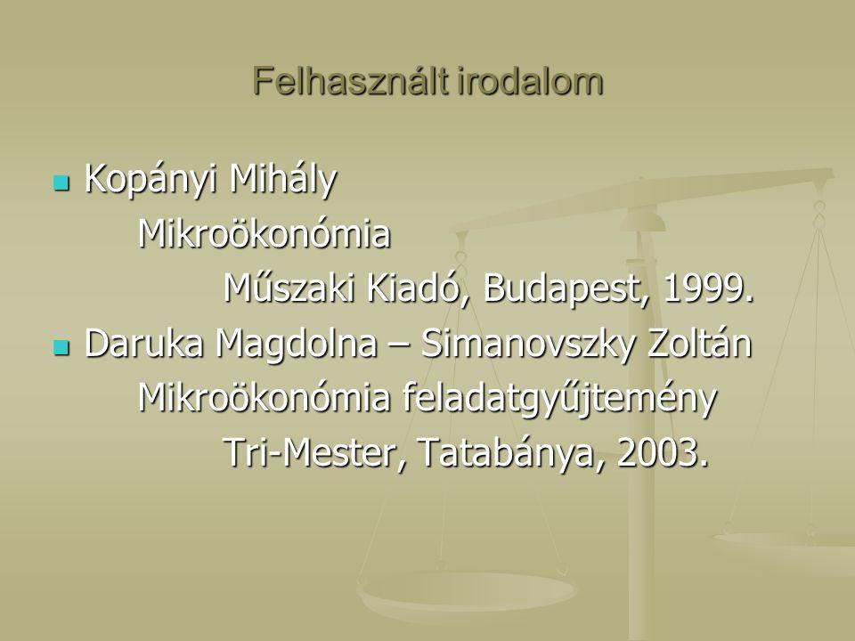 Felhasznált irodalom Kopányi Mihály. Mikroökonómia. Műszaki Kiadó, Budapest, 1999. Daruka Magdolna – Simanovszky Zoltán.