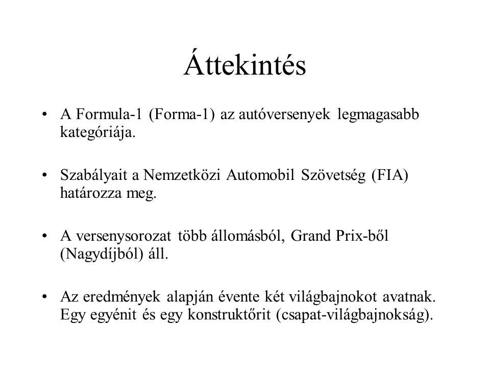 Áttekintés A Formula-1 (Forma-1) az autóversenyek legmagasabb kategóriája. Szabályait a Nemzetközi Automobil Szövetség (FIA) határozza meg.