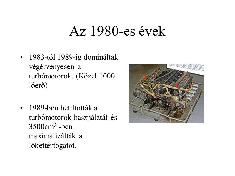 Az 1980-es évek 1983-tól 1989-ig domináltak végérvényesen a turbómotorok. (Közel 1000 lóerő)