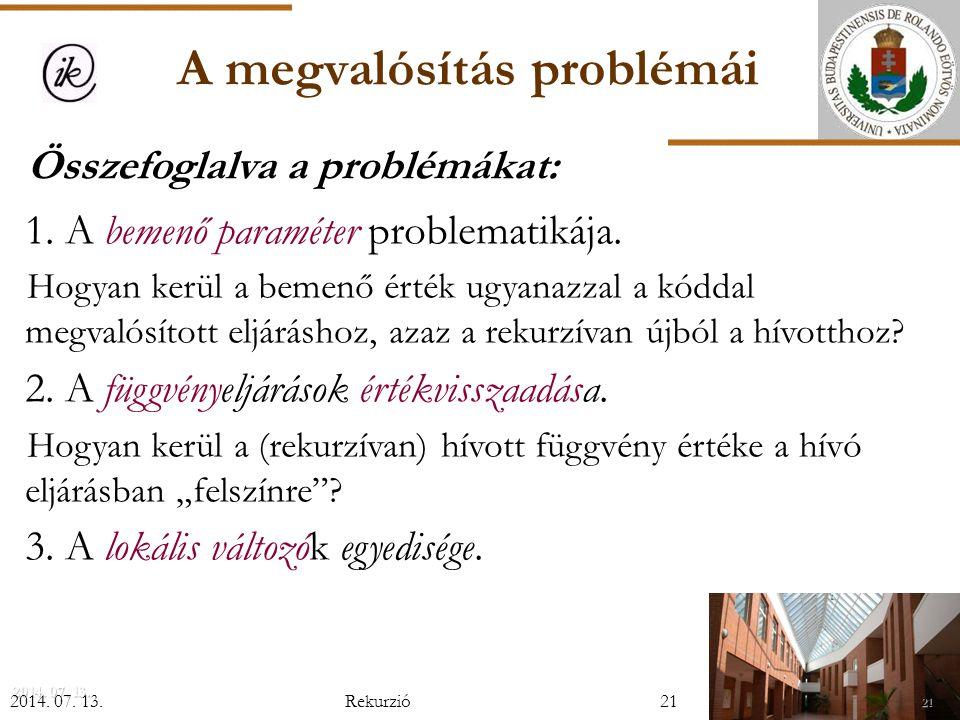 A megvalósítás problémái