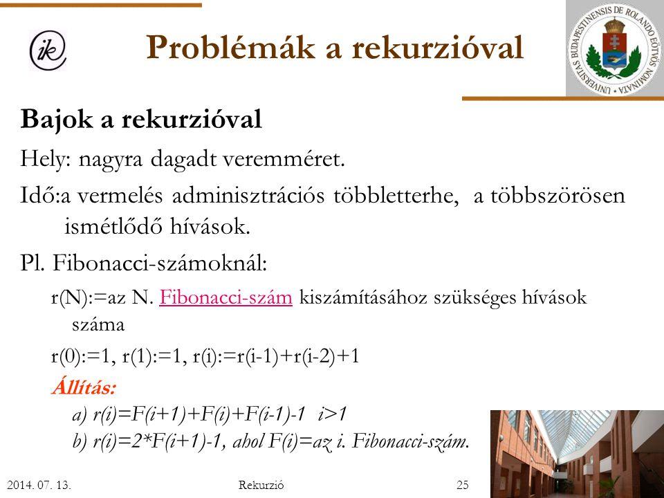 Problémák a rekurzióval