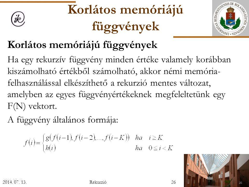 Korlátos memóriájú függvények