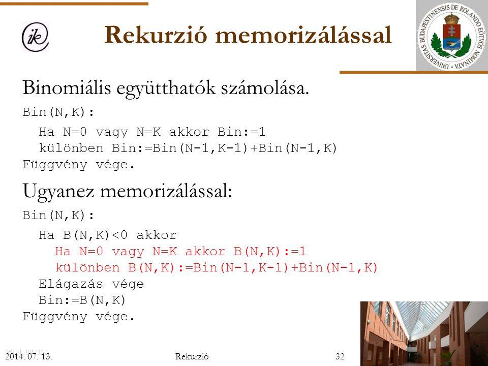 Rekurzió memorizálással