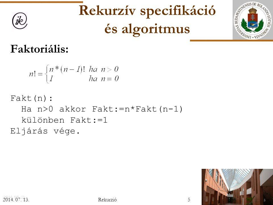 Rekurzív specifikáció és algoritmus