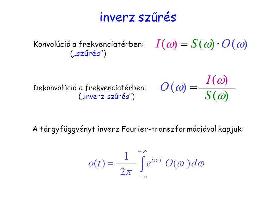 inverz szűrés I (w) = S (w) · O (w) I (w) O (w) = S (w)