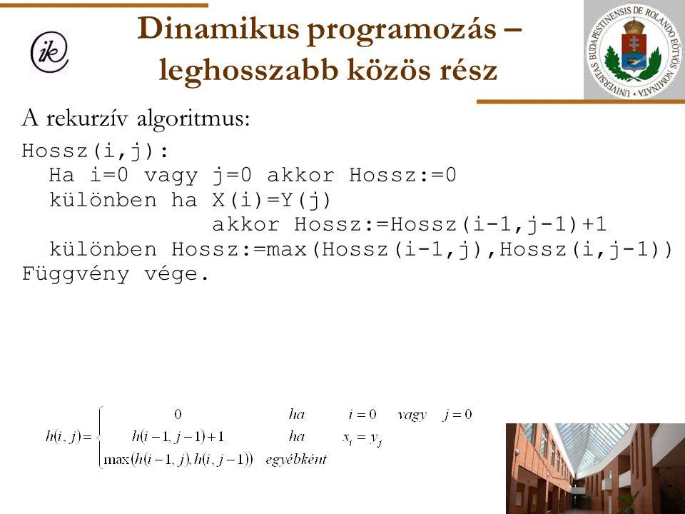 Dinamikus programozás – leghosszabb közös rész