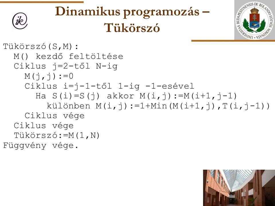 Dinamikus programozás – Tükörszó