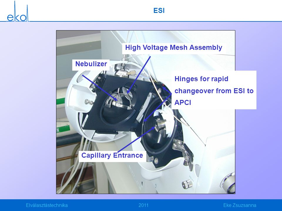 ESI High Voltage Mesh Assembly. Nebulizer. Hinges for rapid changeover from ESI to APCI.
