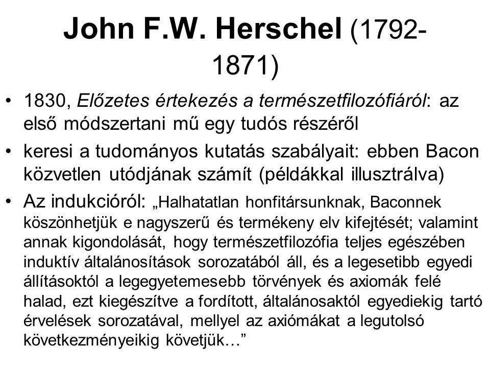 John F.W. Herschel (1792-1871) 1830, Előzetes értekezés a természetfilozófiáról: az első módszertani mű egy tudós részéről.