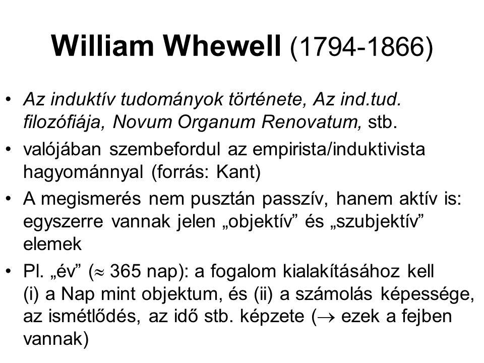 William Whewell (1794-1866) Az induktív tudományok története, Az ind.tud. filozófiája, Novum Organum Renovatum, stb.