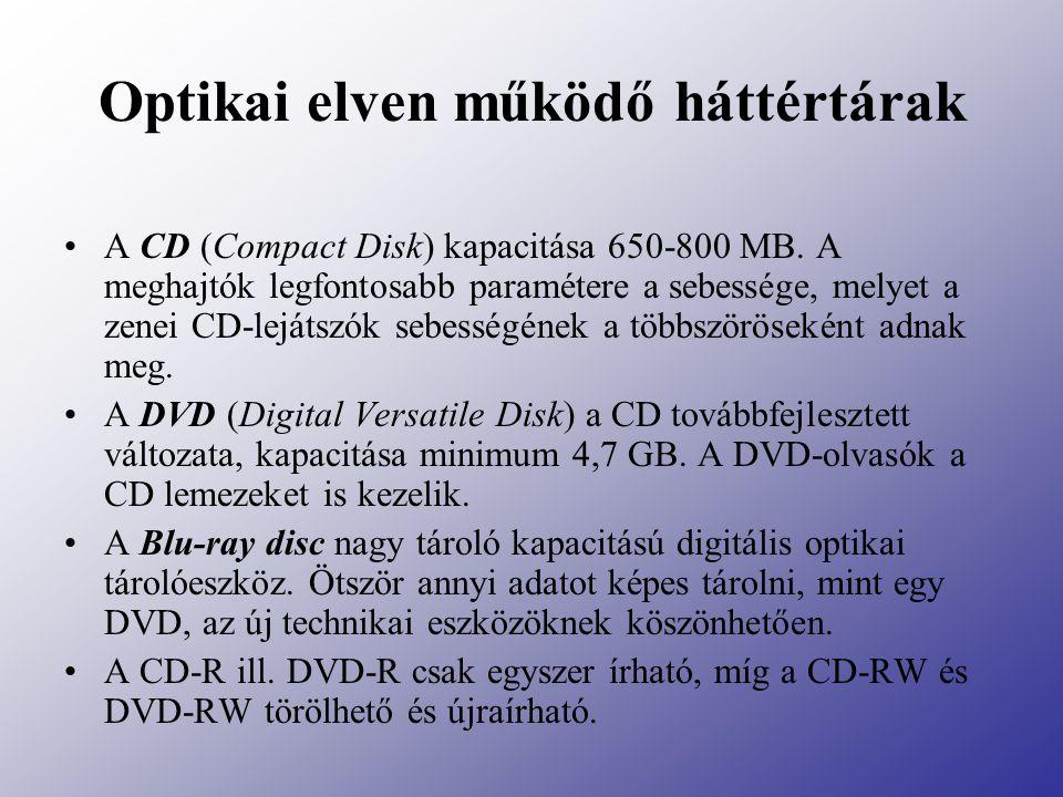 Optikai elven működő háttértárak