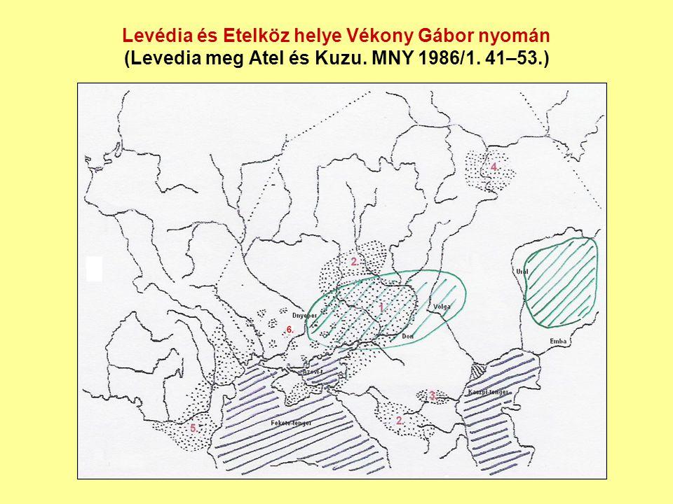 Levédia és Etelköz helye Vékony Gábor nyomán (Levedia meg Atel és Kuzu