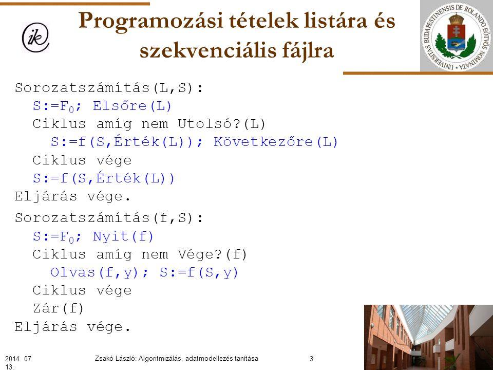 Programozási tételek listára és szekvenciális fájlra