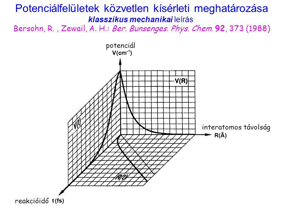 Potenciálfelületek közvetlen kísérleti meghatározása klasszikus mechanikai leírás Bersohn, R. , Zewail, A. H.: Ber. Bunsenges. Phys. Chem. 92, 373 (1988)