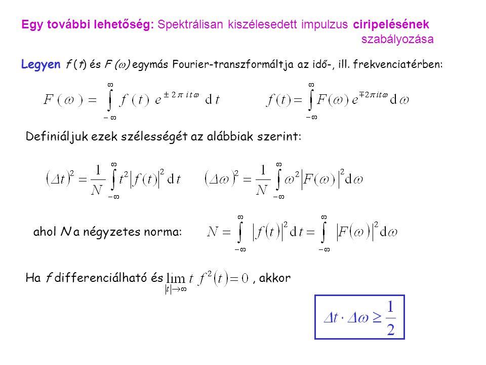 Válaszok / Fourier Egy további lehetőség: Spektrálisan kiszélesedett impulzus ciripelésének szabályozása.