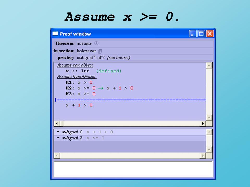Assume x >= 0.