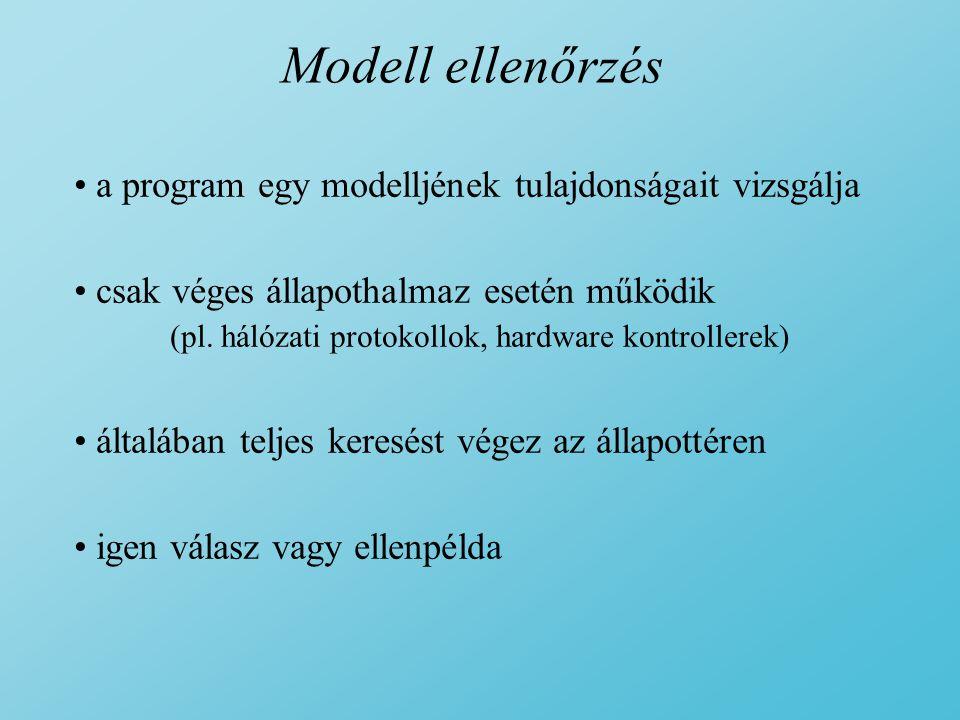 Modell ellenőrzés a program egy modelljének tulajdonságait vizsgálja