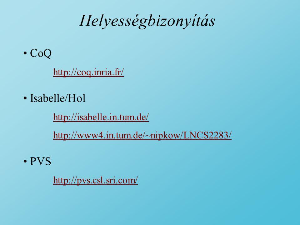 Helyességbizonyítás CoQ Isabelle/Hol PVS http://coq.inria.fr/