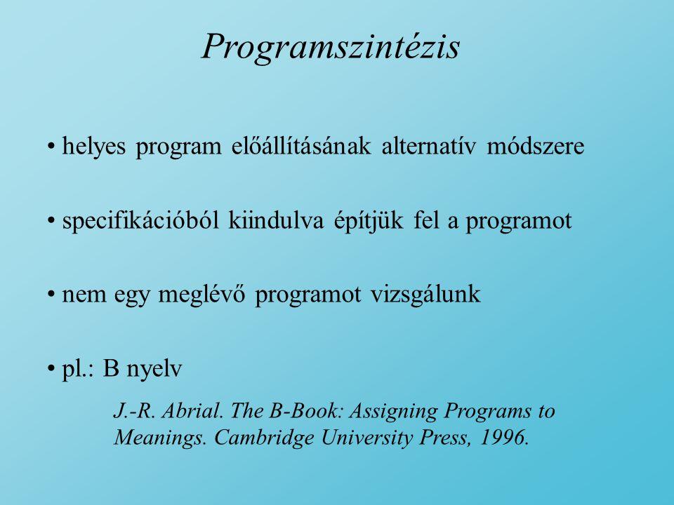 Programszintézis helyes program előállításának alternatív módszere