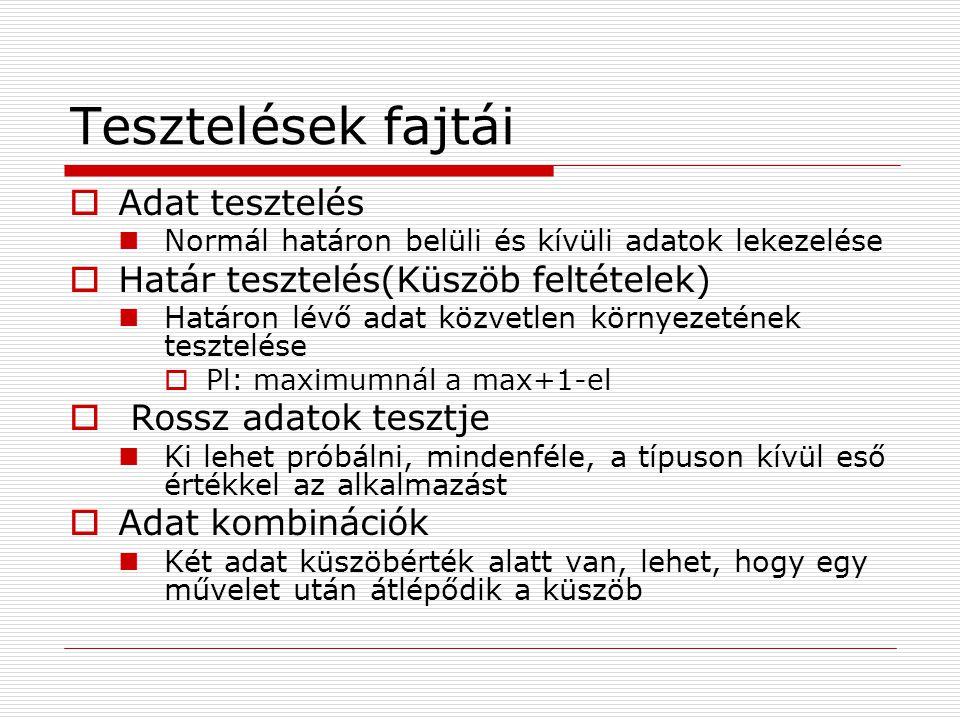 Tesztelések fajtái Adat tesztelés Határ tesztelés(Küszöb feltételek)