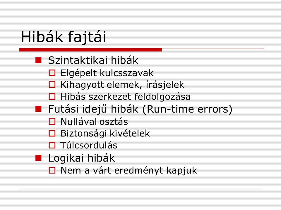 Hibák fajtái Szintaktikai hibák Futási idejű hibák (Run-time errors)