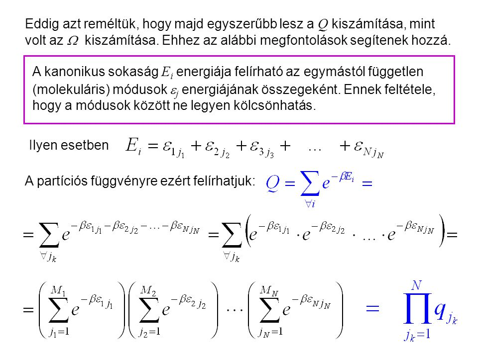 Kanonikus partíciós függvény 1