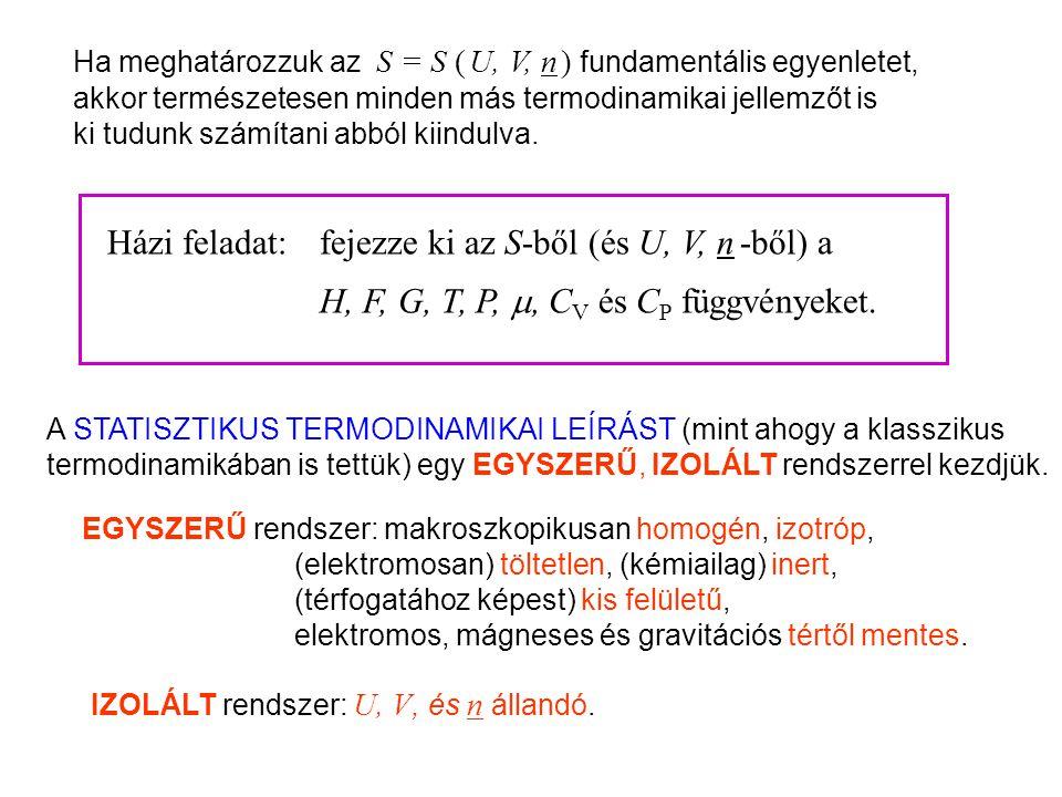 Házi feladat: fejezze ki az S-ből (és U, V, n -ből) a