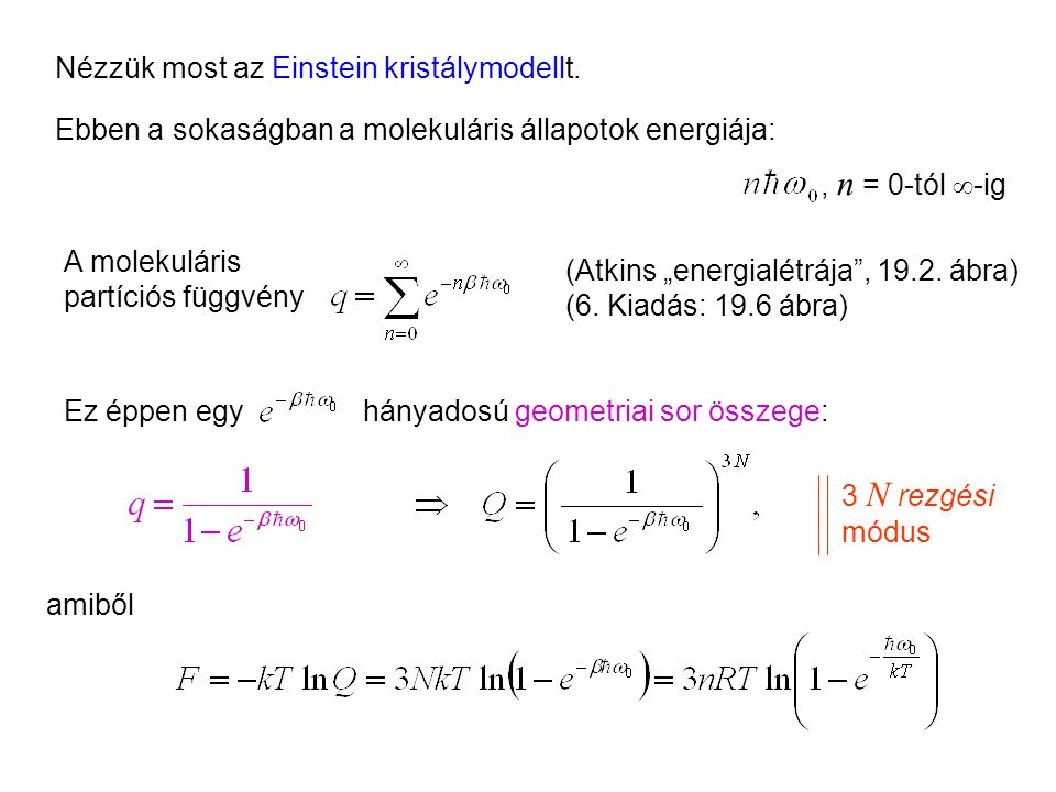 Einstein kristálymodell kanonikus leírása