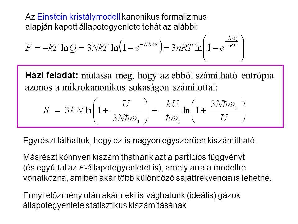 Einstein kristálymodell kanonikus leírása 2