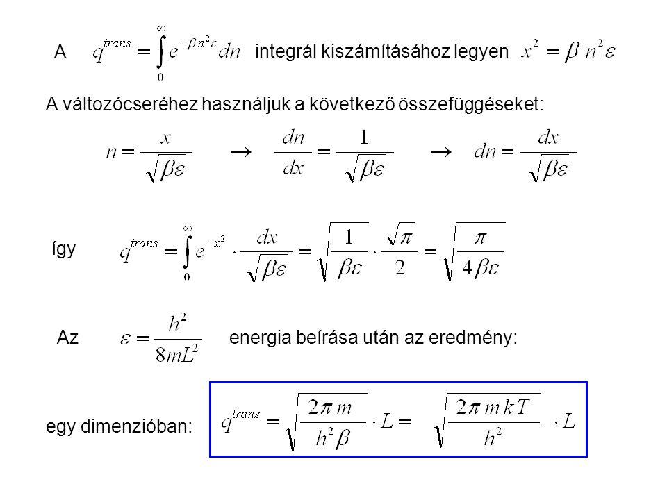 Ideális gázok 4 A. integrál kiszámításához legyen. A változócseréhez használjuk a következő összefüggéseket:
