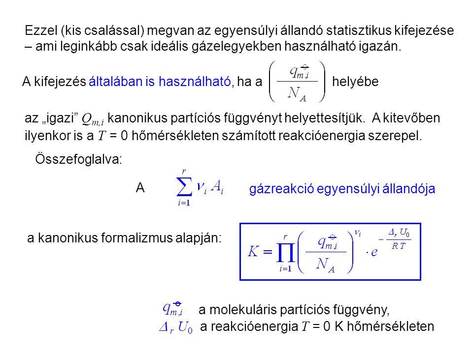 Az egyensúlyi állandó kanonikus kifejezése 4